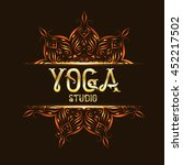 yoga studio emblem logo with... | Shutterstock . vector #452217502