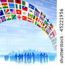 business team with flags banner ...   Shutterstock .eps vector #45221956