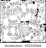 white cats on black  vector... | Shutterstock .eps vector #452233366