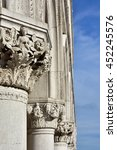 Small photo of Doge Palace ancient medieval capitals and columns with allegorical reliefs, in Saint Mark Square, Venice