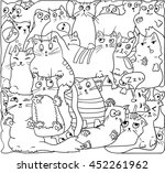 white cats  outline vector... | Shutterstock .eps vector #452261962