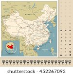 highly detailed road map of... | Shutterstock .eps vector #452267092