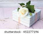 Cute Gift Box Wrapped With Blu...