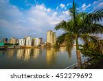 Palm tree and buildings along the Pasig River, seen from Fort Santiago, in Intramuros, Manila, The Philippines.