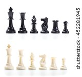Wooden Chess Set  Lined Up In...