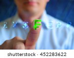 Stock photo currency sign concept background businessman touching currency sign frank series currency sign 452283622