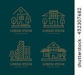 abstract house logo set. vector ... | Shutterstock .eps vector #452307682