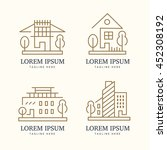 abstract house logo set. vector ... | Shutterstock .eps vector #452308192
