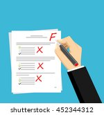 get f for the exam. checking in ... | Shutterstock .eps vector #452344312