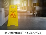 yellow sign inside building... | Shutterstock . vector #452377426