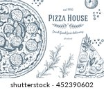 pizza design template. vector... | Shutterstock .eps vector #452390602
