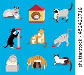 set of cute cartoon cats ... | Shutterstock .eps vector #452423716