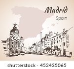 madrid hand drawn street. spain.... | Shutterstock .eps vector #452435065