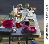 Small photo of Garage sale, yard sale old unwanted items and utensils.