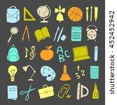 vector hand drawn cute school... | Shutterstock .eps vector #452452942