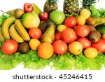 fresh vegetables  fruits and... | Shutterstock . vector #45246415