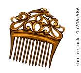golden vintage hair comb.... | Shutterstock .eps vector #452465986
