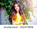 young girl with flowers summer... | Shutterstock . vector #452475898