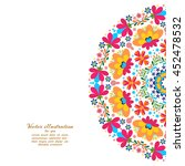 floral pattern in a circle... | Shutterstock .eps vector #452478532