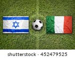 israel vs. italy flags on green ... | Shutterstock . vector #452479525