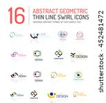 collection of linear abstract... | Shutterstock . vector #452481472