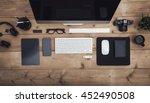 overhead view work place hero... | Shutterstock . vector #452490508