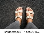 woman white shoes and grey... | Shutterstock . vector #452503462