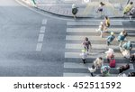 blur people are moving across... | Shutterstock . vector #452511592