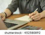 businessman hand working with...   Shutterstock . vector #452580892