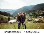a couple of tourists in time of ... | Shutterstock . vector #452590012