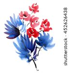 red flowers and dark blue... | Shutterstock . vector #452626438