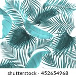 leaves of palm tree on white... | Shutterstock . vector #452654968
