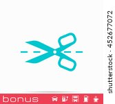 scissors with cut lines icon | Shutterstock . vector #452677072