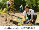 team of the gardeners at work... | Shutterstock . vector #452681476
