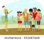 group of cheerful male and... | Shutterstock .eps vector #452687668