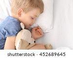 adorable little boy sleeping... | Shutterstock . vector #452689645