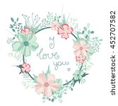 vector floral frame with... | Shutterstock .eps vector #452707582