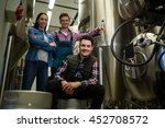 portrait of brewers posing at... | Shutterstock . vector #452708572