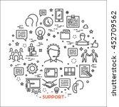 vector line concept support.... | Shutterstock .eps vector #452709562