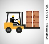 man driving forklift machine ... | Shutterstock .eps vector #452715736