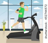 man at gym doing exercise on... | Shutterstock .eps vector #452744572