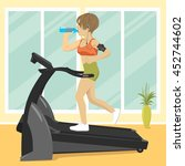 young woman at gym doing... | Shutterstock .eps vector #452744602
