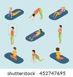 sports women yoga gym...   Shutterstock . vector #452747695