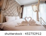 Stock photo beautiful bedroom interior and towels 452752912