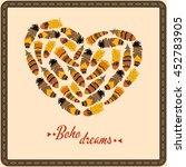 bohemian style poster with... | Shutterstock .eps vector #452783905