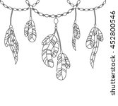 hand drawing feathers and...   Shutterstock . vector #452800546