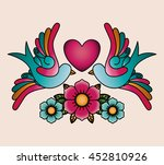 heart and birds tattoo isolated ... | Shutterstock .eps vector #452810926