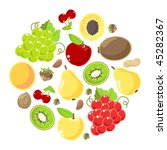 set of fruits and nuts on a... | Shutterstock .eps vector #45282367