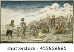 the san people and their huts... | Shutterstock . vector #452826865
