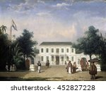 House on the Rijswijk, Batavia (Jalan Veteran), by Ernest Alfred Hardouin, 1835-45, Dutch Colonial painting, oil on canvas. Built by Pieter Tency in 1796. In the foreground is a Javanese woman with p